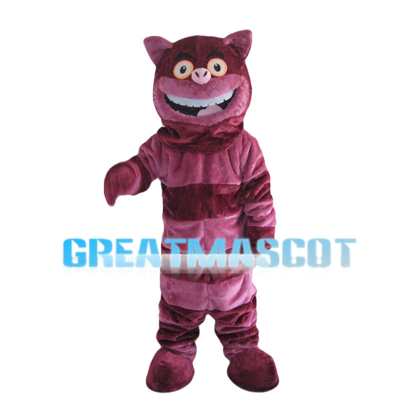 Purple Striped Cat Mascot Costume