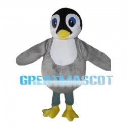 Gray Penguin With Blue Eyes Mascot Costume