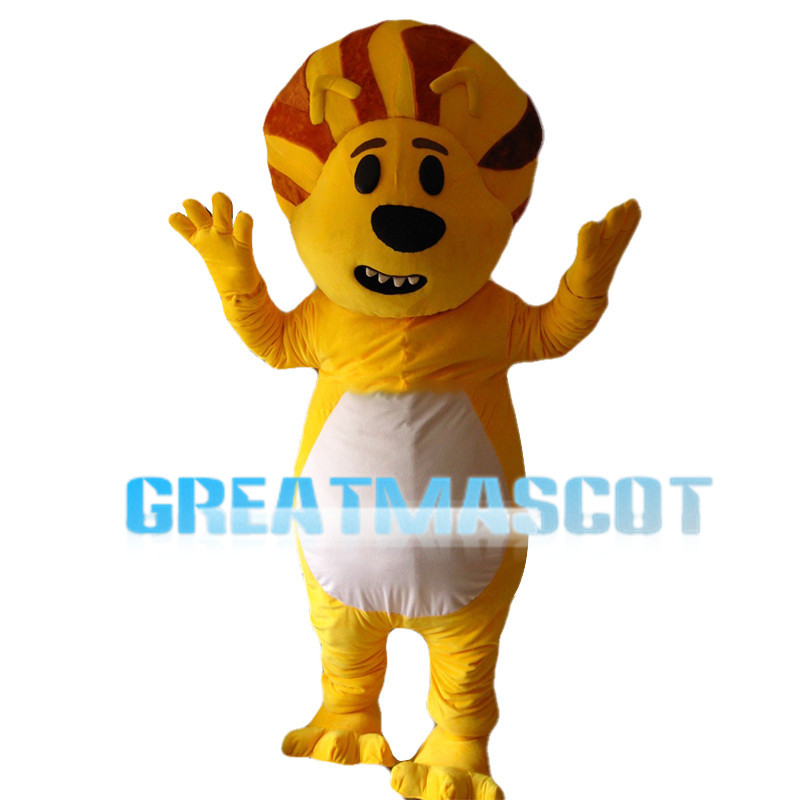 Confused Yellow Lion Mascot Costume