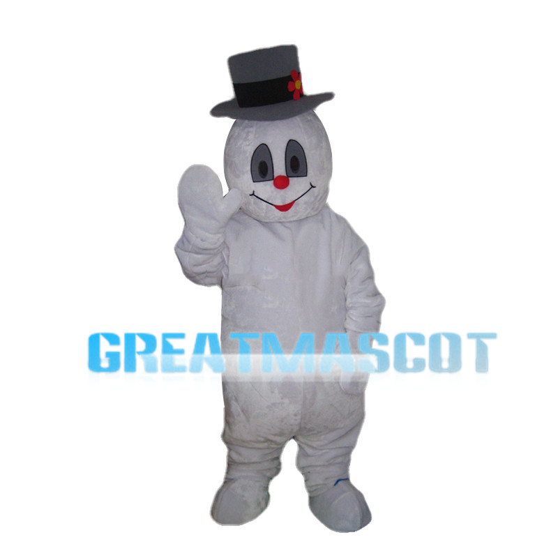 Snowman With Gray Hat Mascot Costume