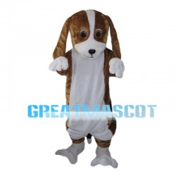 Brown & White Dog With Lop Ears Mascot Costume