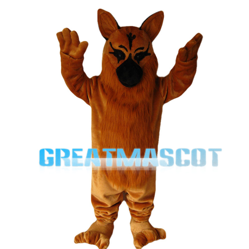Brown Wolf With Furry Belly Mascot Costume