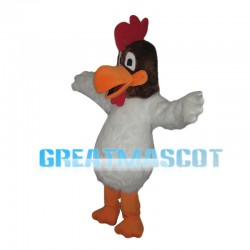Lively White Cock Mascot Costume