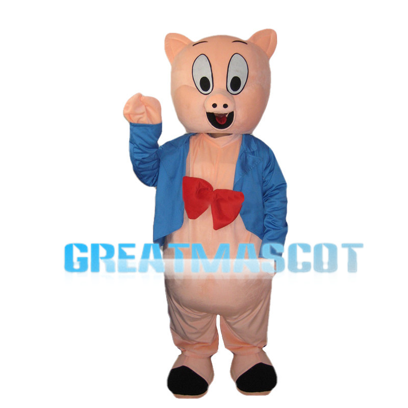 Pink Pig Wearing Blue Suit Mascot Costume