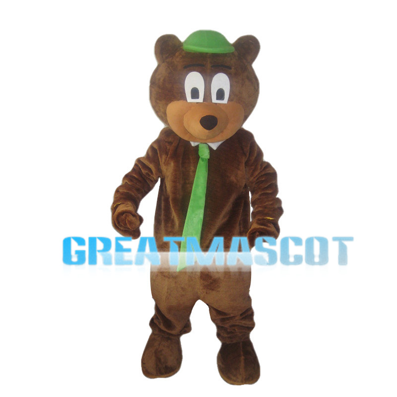 Cute Bear With Green Tie Mascot Costume