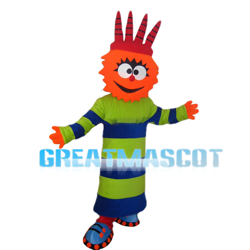 Antic Doll With Blue And Green Clothes Mascot Costume