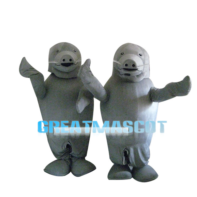 Performing Grey Seal Mascot Costume
