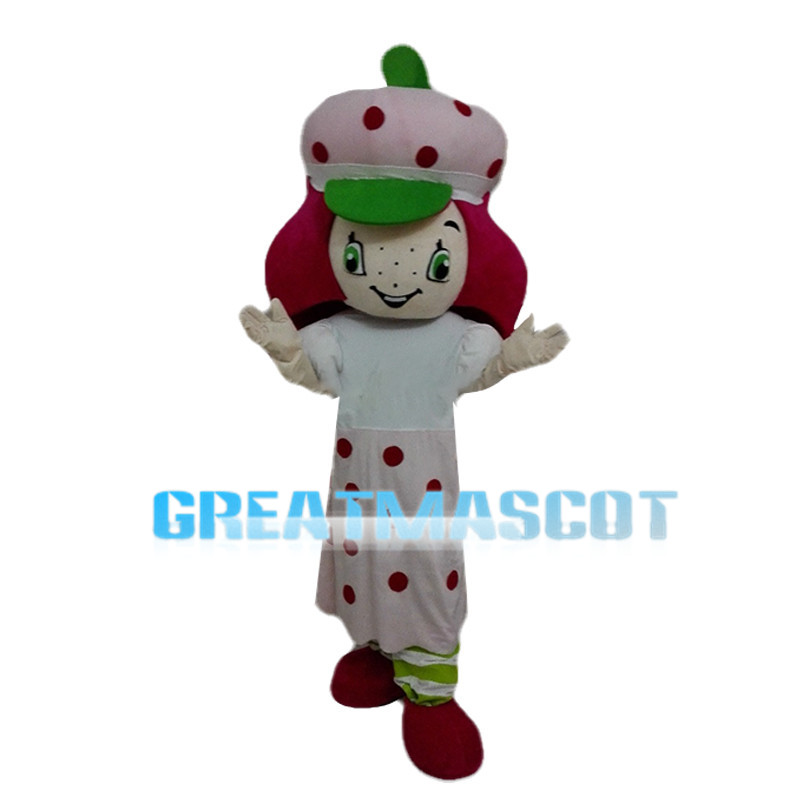 Overjoyed Girl With Strawberry Hat Mascot Costume