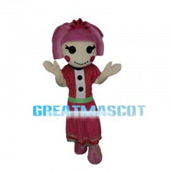 Pink Hair Girl With Polka Dot Dress Mascot Costume