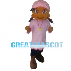 Black Girl With Pink Scarf Mascot Costume