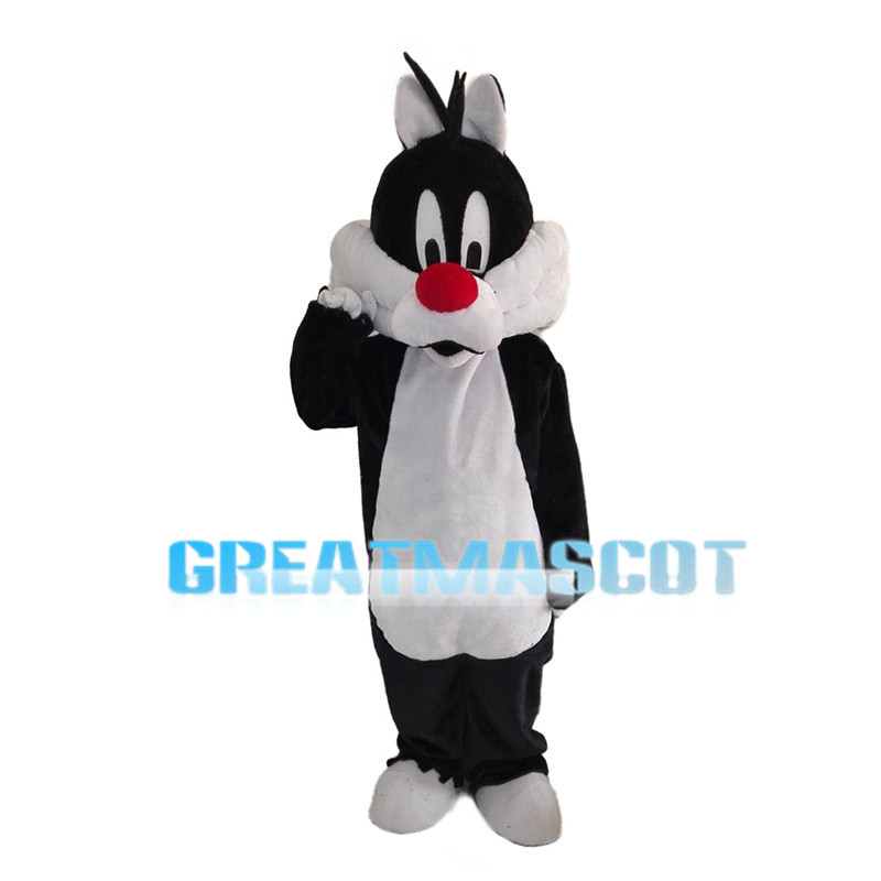Silly Big Cat With Red Nose Mascot Costume