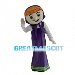 Good-hearted Woman In Purple Dress Mascot Costume