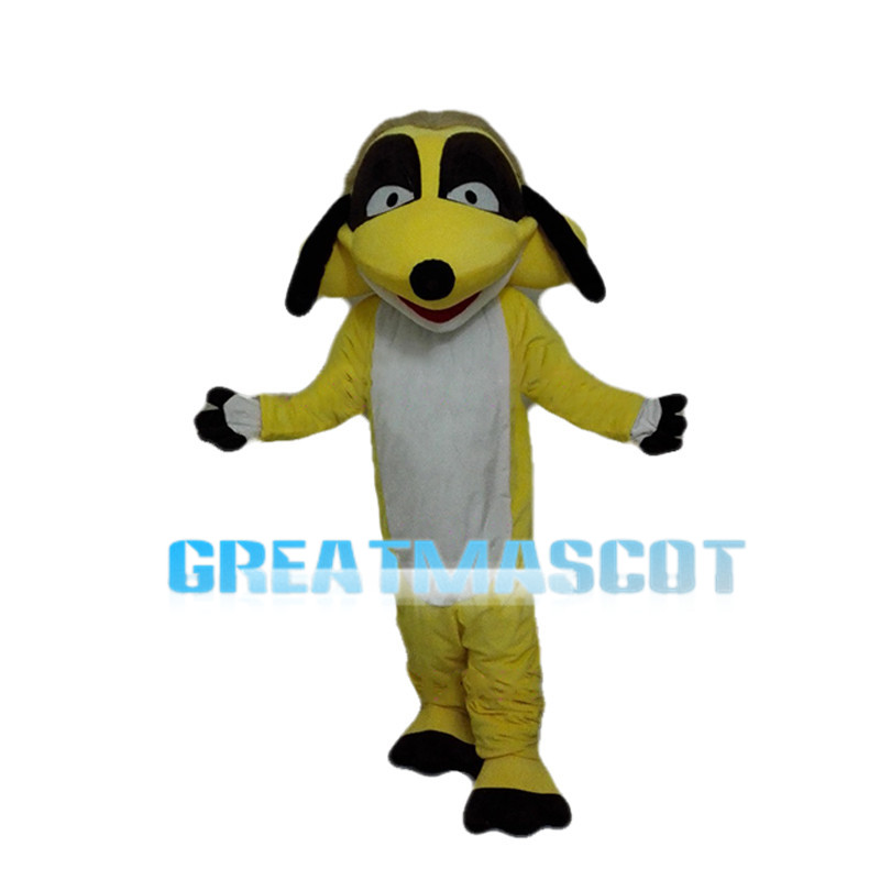 Yellow Dog With Triangle Mouth Mascot Costume