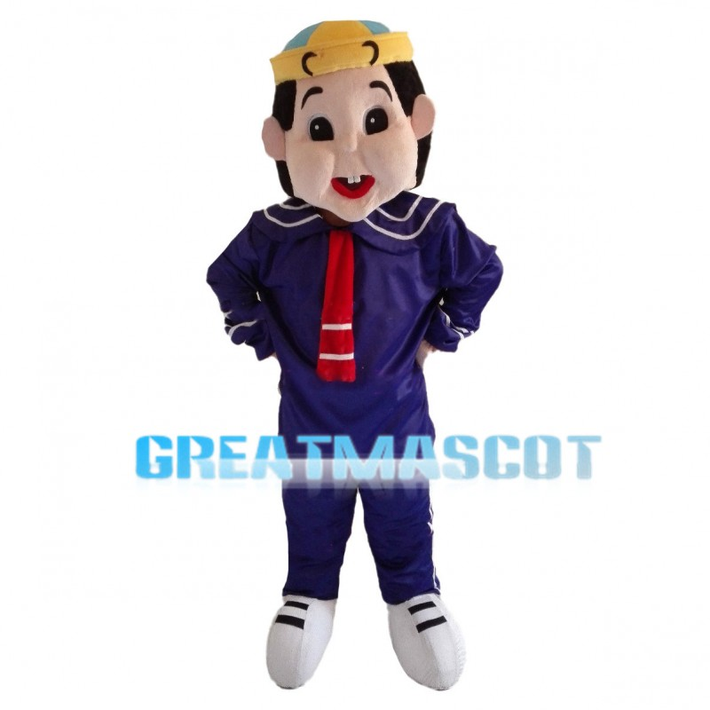 Big Face Boy Wearing Blue Sailor Suit Mascot Costume