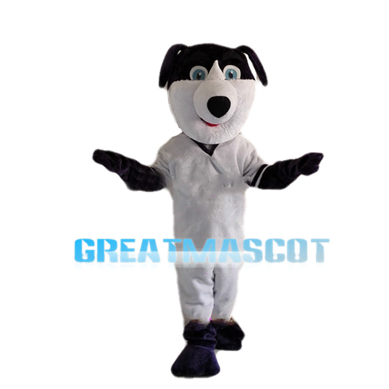 Active Black & White Dog Mascot Costume