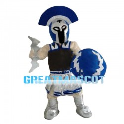 Blue Guard Wearing Protective Gear Mascot Costume