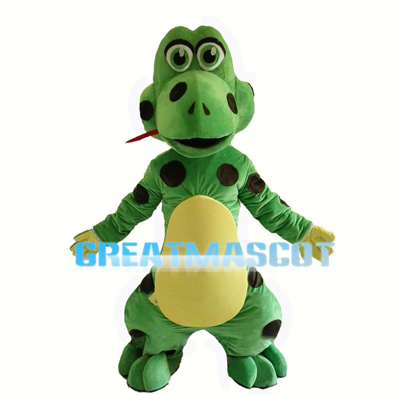 Cartoon Green Snake With Feet Mascot Costume