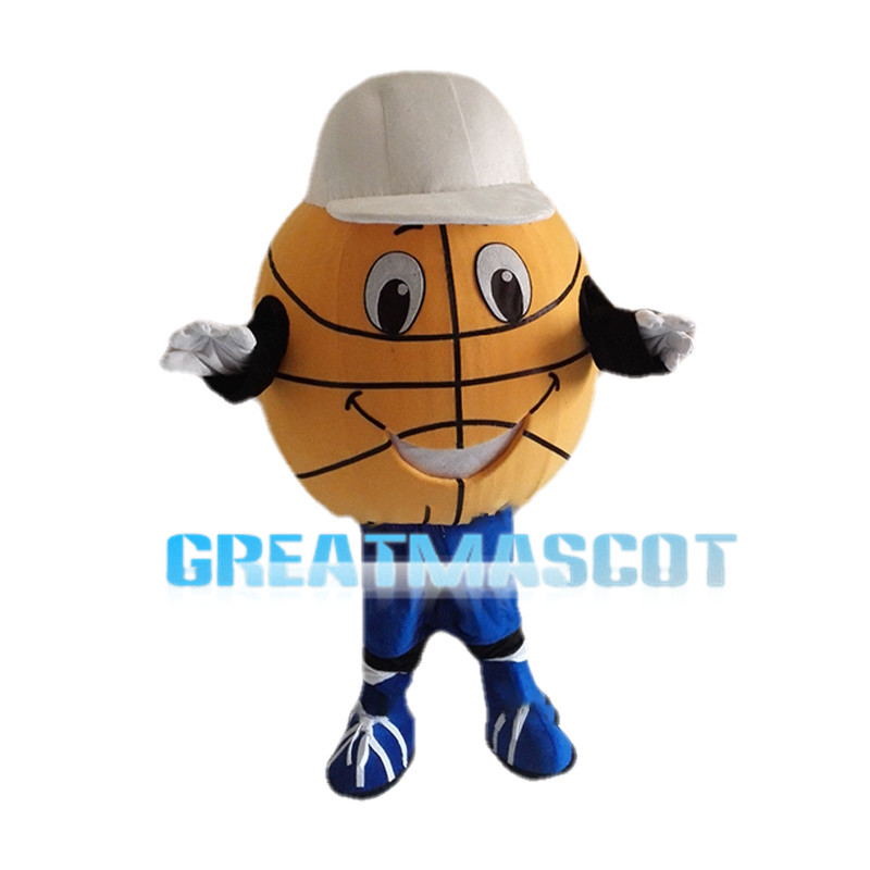 Cartoon Basketball Wearing White Cap Mascot Costume