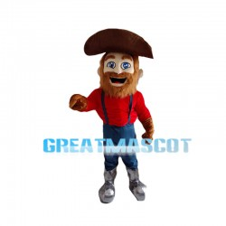 Old Captain With Brown Beard Mascot Costume