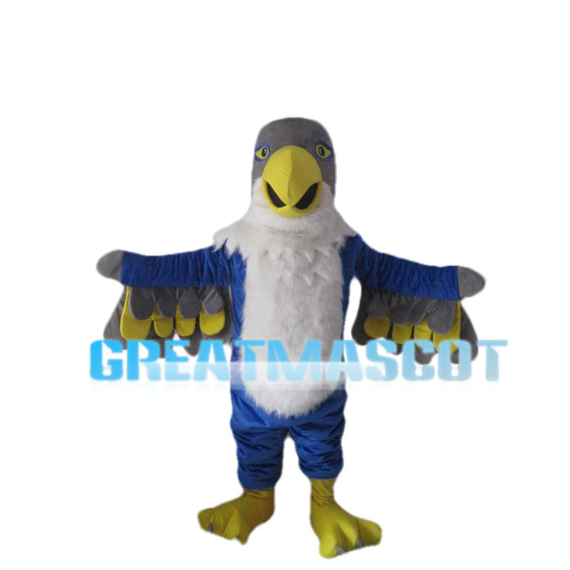 White & Blue Eagle With Grey Head Mascot Costume