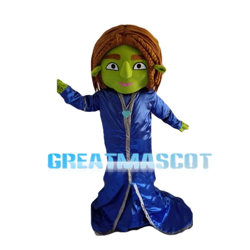 Green Female Monster With Brown Hair Mascot Costume