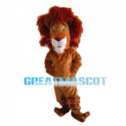 Confused Brown Lion Mascot Costume