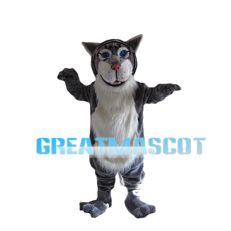 Grey Tiger With Blue Eyes Mascot Costume