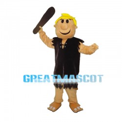 Yellow Hair Man Carrying Wooden Club Mascot Costume