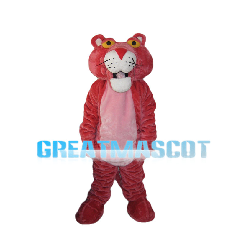 Pink Tiger With Round Head Mascot Costume
