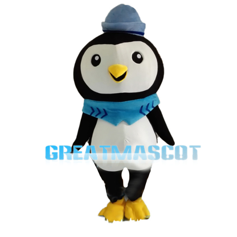 Slim Little Penguin With Blue Hat Mascot Costume