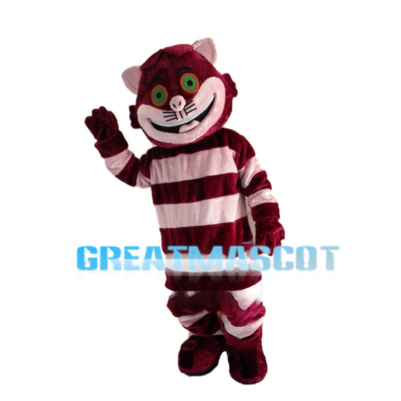 Diverting Purple Striped Cat Mascot Costume