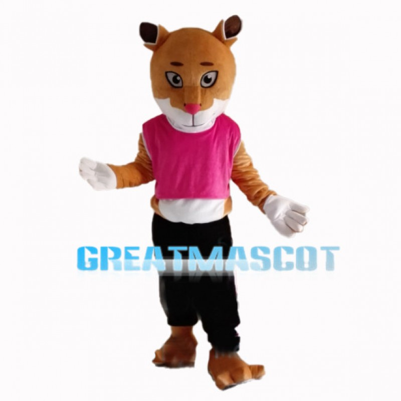 Young Tiger With Pink Vest Mascot Costume