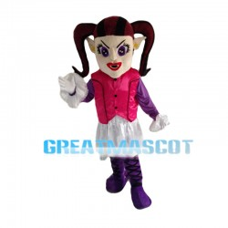 Long Nose Girl With Double Ponytails Mascot Costume