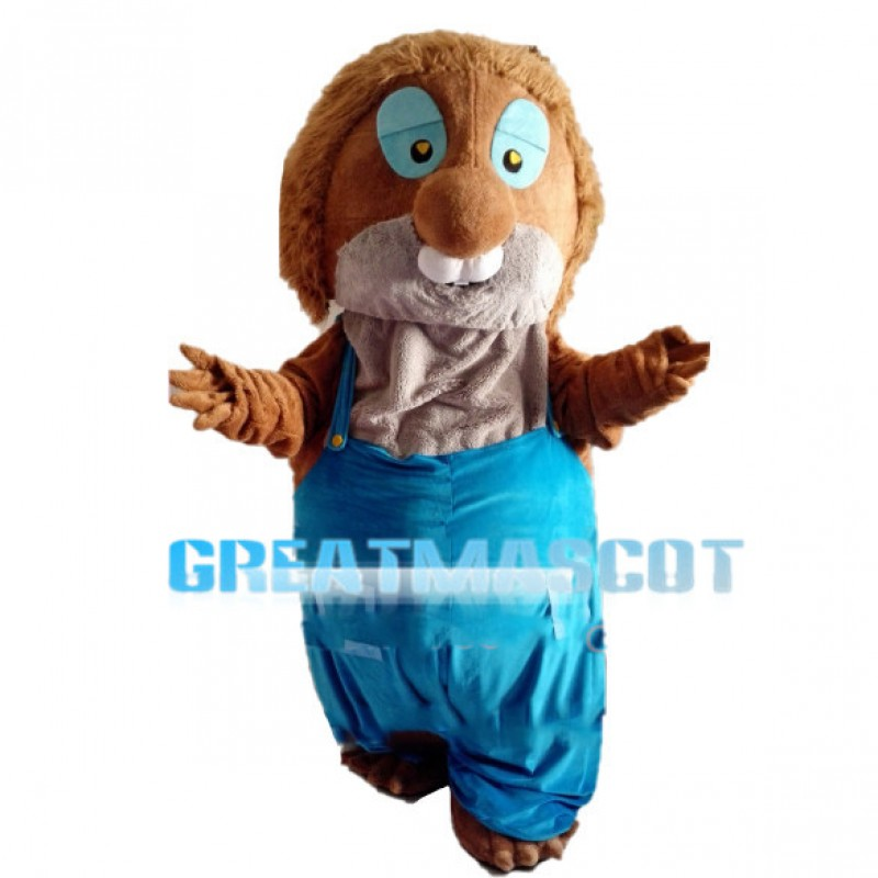 Fat Chipmunk With Blue Overalls Mascot Costume