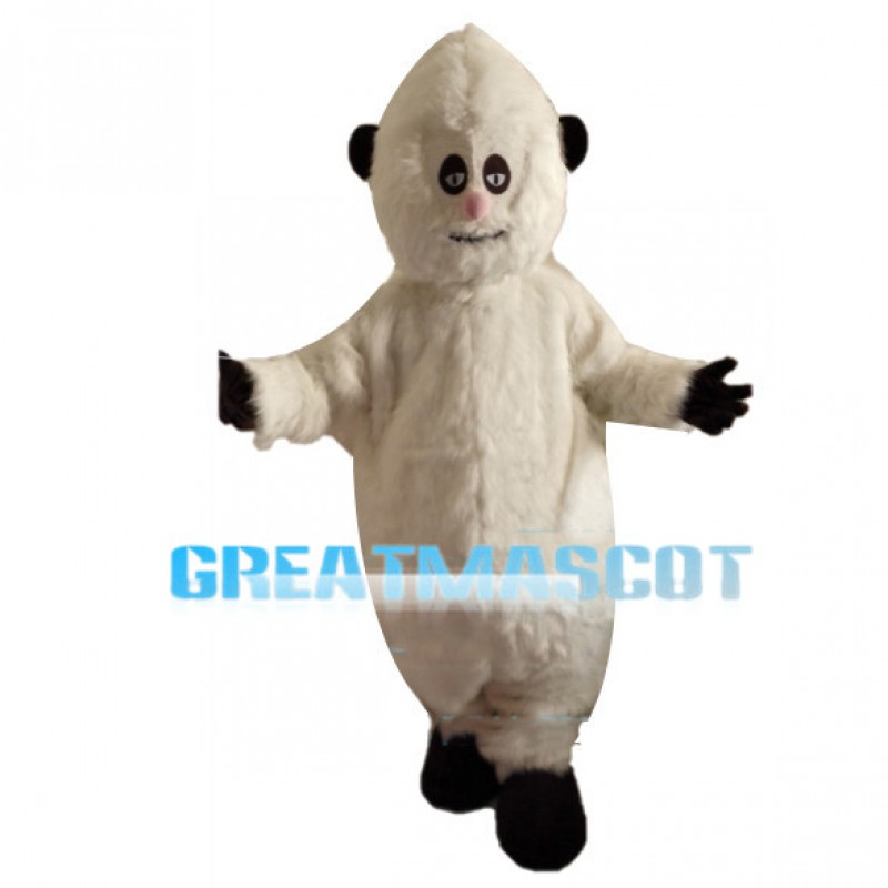 Small Eyes White Furry Monster Mascot Costume