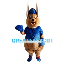 Big Ears Kangaroo With Blue Clothes Mascot Costume