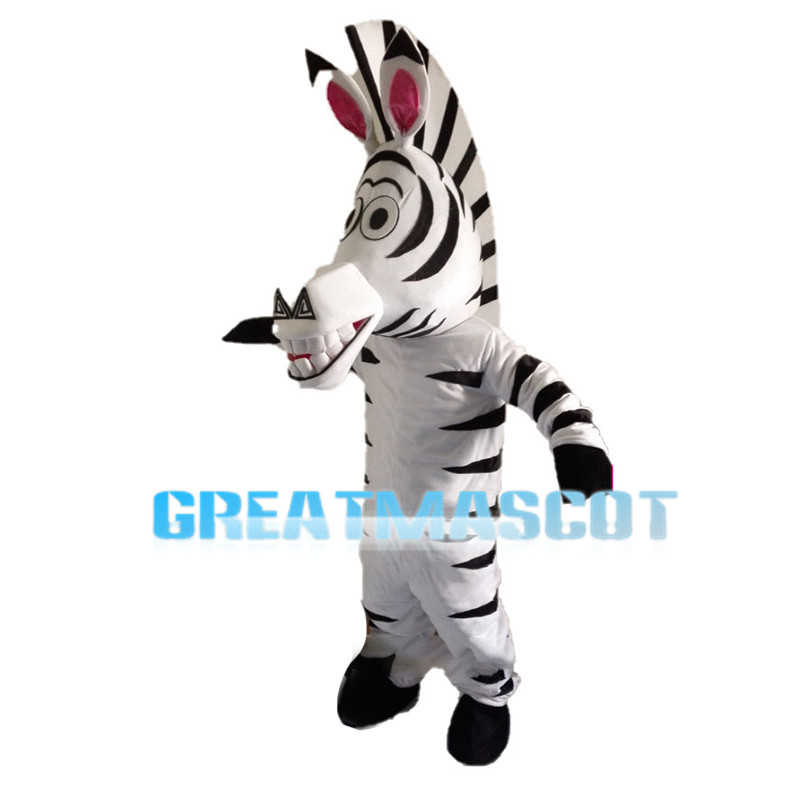 Entertaining Toothy Zebra Mascot Costume