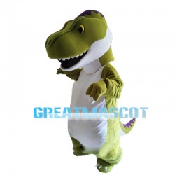 Endearing Green & White Dragon Mascot Costume