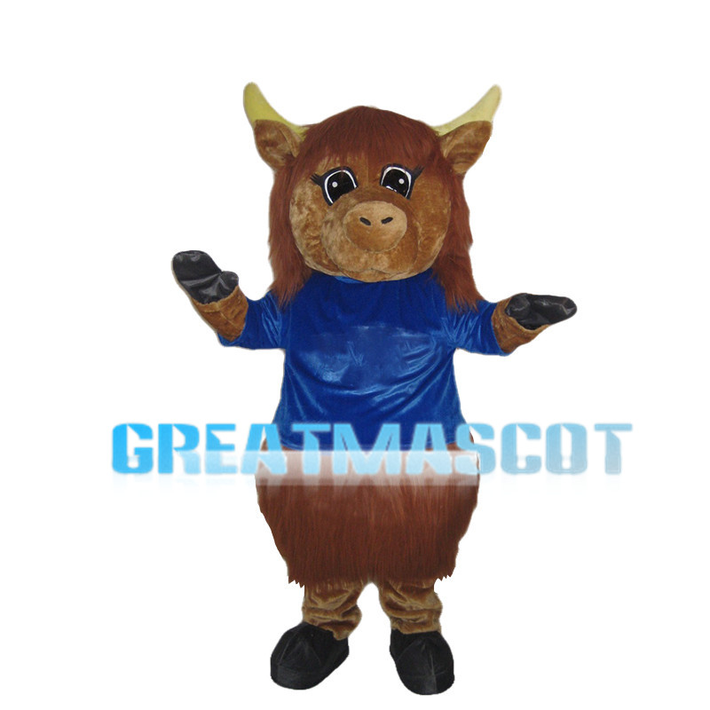 Brown Calf With Blue Clothes Mascot Costume