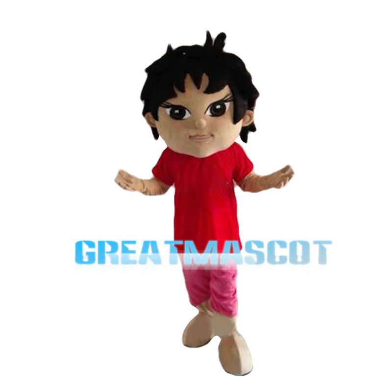 Black Hair Boy With Red Top Mascot Costume