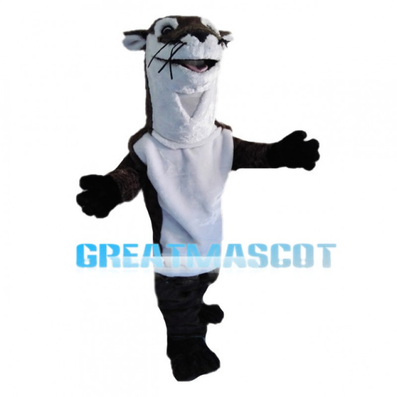 Black & White Skunk With Long Neck Mascot Costume