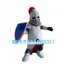 White Samurai Holding Shield Mascot Costume