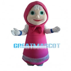 Maid Wearing Pink Apron Mascot Costume
