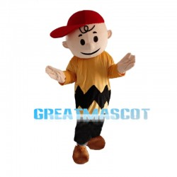 Optimistic Boy Wearing Red Cap Mascot Costume