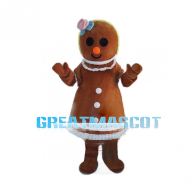 Gingerbread Woman With Pink Flower On Head Mascot Costume