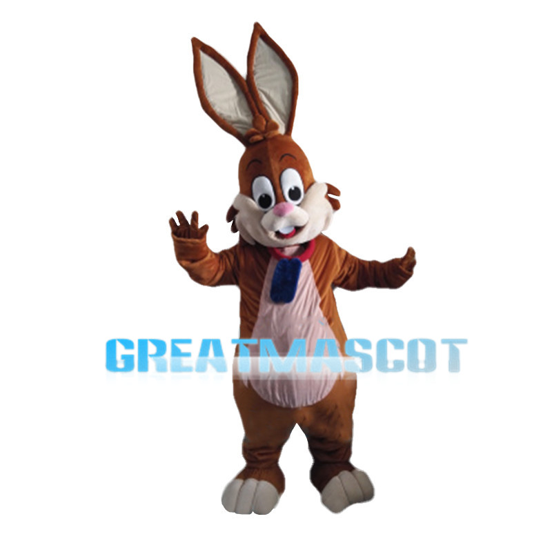 Brown Rabbit With Tag Mascot Costume
