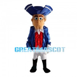 Kind Gentleman In Blue Coat Mascot Costume