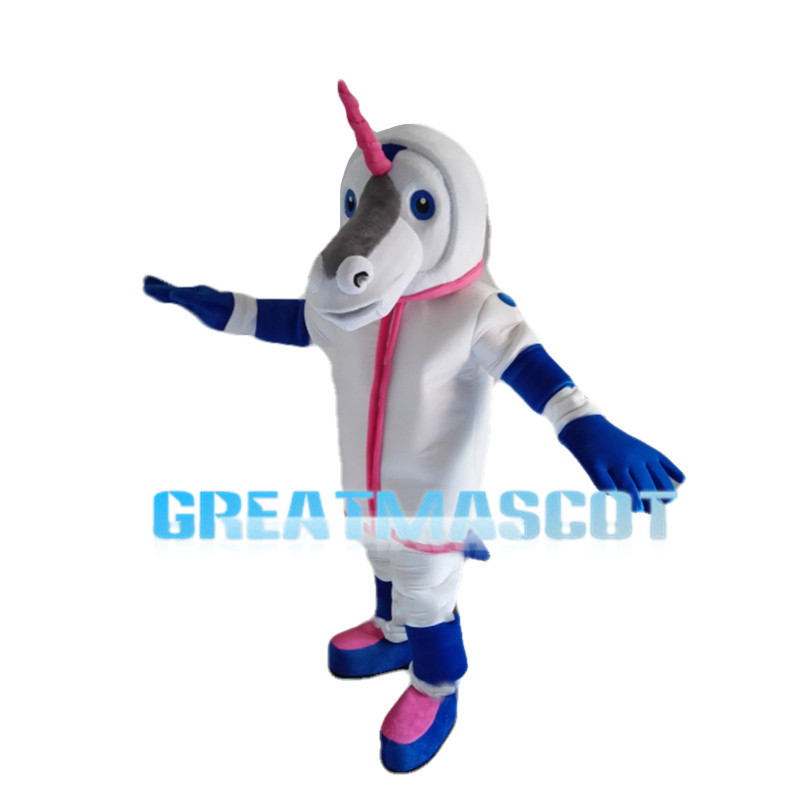 Special Look Horse With Pink Horn Mascot Costume