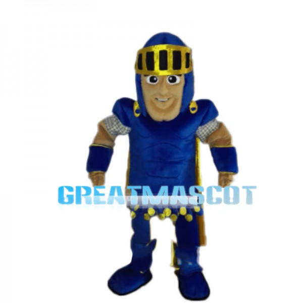 Enthusiastic Blue Soldier Mascot Costume