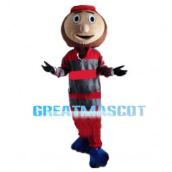Player In Striped Shirt Mascot Costume For Team